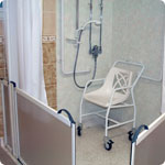 An adapted shower.