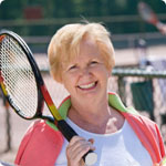 Tennis keeps this lady fit and happy.